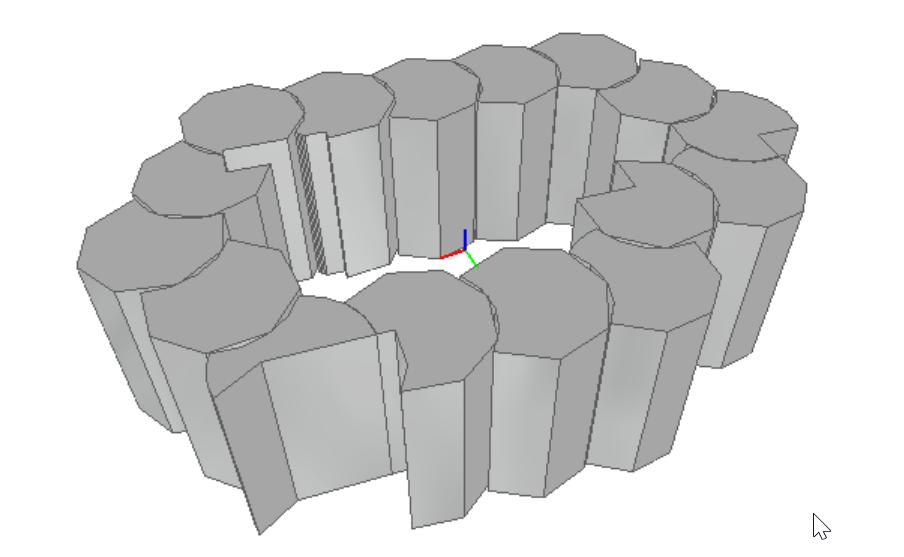 Fragment modelu złożonego z wielu (kilkuset) zaokrąglonych elementów