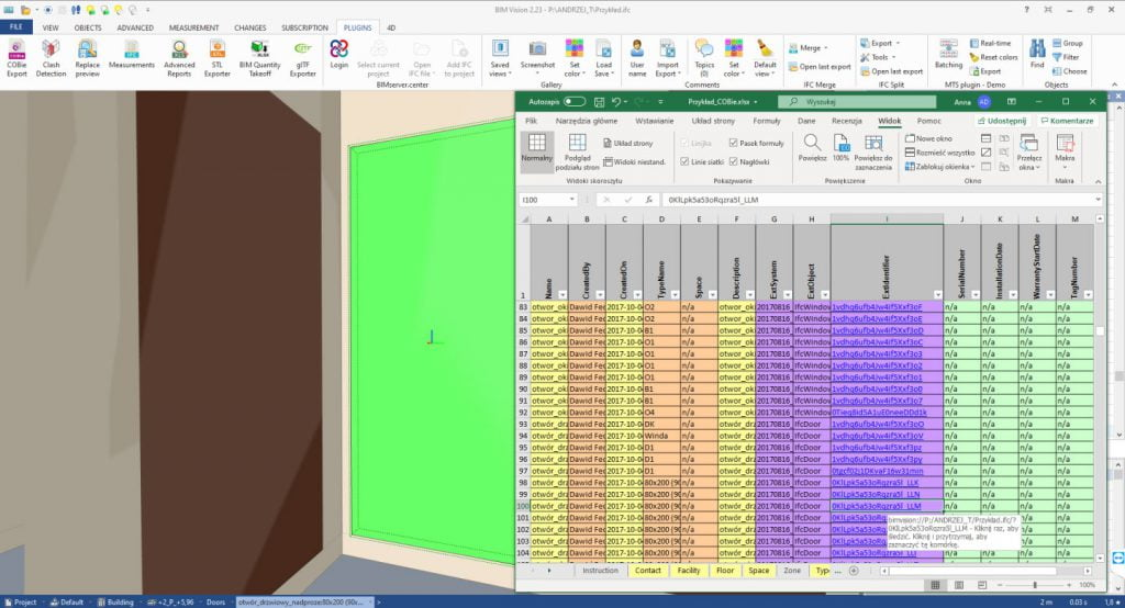 New version BIMvision 2.24 Cobie plugin